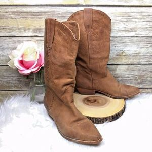 MIA Brown Distressed Leather Mid Calf Cowboy Boots